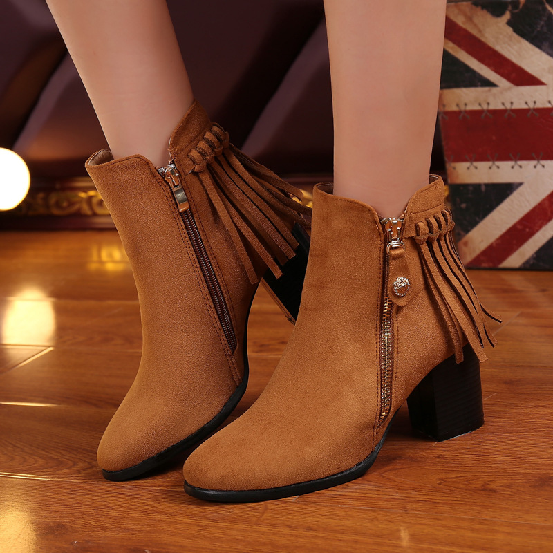 2016 Autumn New Women s Cheap Chunky High Heeled Ankle Booties Naked Female Fringe Boots Winter