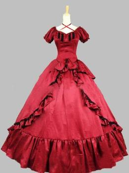 Customized 2016 Brand New Red/Black Short Sleeves Bow 18th Century Gothic Victorian Lolita Dress For Women