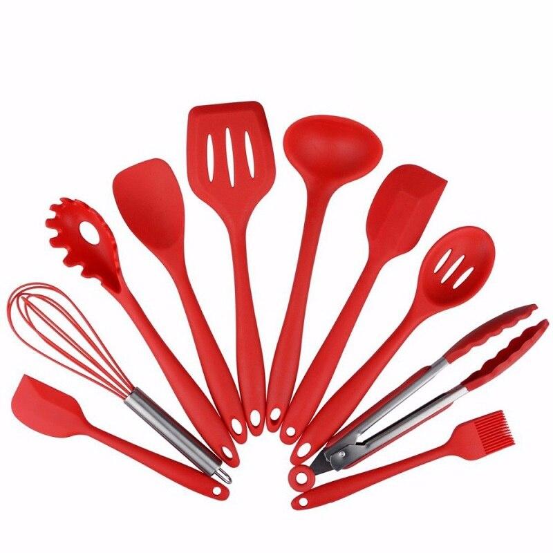 10 pièces Silicone cuisson Set cuillères, tourneurs, spatule & louche Etc résistant à la chaleur ustensiles de cuisine facile à nettoyer livraison gratuite