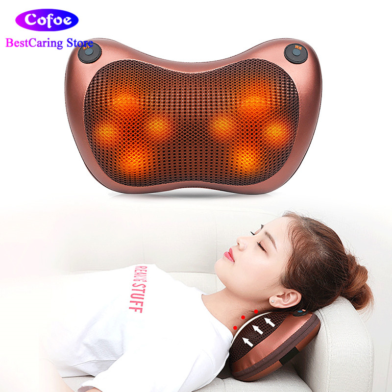 Cofoe Shiatsu Massage Pillow Electric Vibration Cushion Heat Roller Kneading Massager Relax Neck Back Shoulder Leg for Home&Car 2016 new arrival kneading massager with heat great at home spa machine for neck back shoulder
