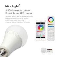 Milight FUT105 E27 12 W RVB + CCT LED Ampoule 110 V 220 V Sans Fil 2.4G Ampoule Dimmable 2 en 1 Intelligent LED Lumière