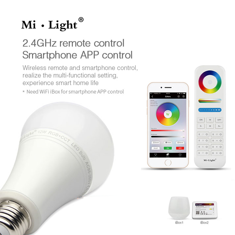 Milight FUT105 E27 12W RGB+CCT LED Bulb 110V 220V Wireless 2.4G Bulb Dimmable 2 in 1 Smart LED Light dc12v 2 4g wireless milight dimmable led bulb 4w mr16 rgb cct led spotlight smart led lamp home decoration