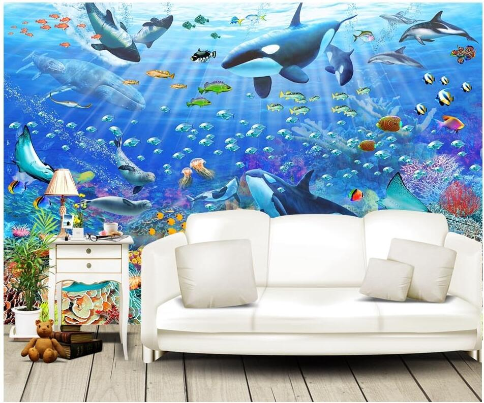 Custom mural photo 3d wall paper Blue ocean underwater world whale room decor painting 3d wall murals wallpaper for wall 3 d custom 3d photo wallpaper murals hd cartoon mushroom room children s bedroom background wall decoration painting wall paper
