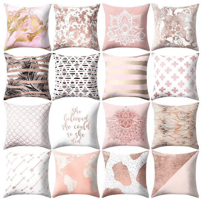 Exceptionnel Throw Pillows Cover Decor Rose Gold Pink Cushion Cover Square Pillowcase  Home Decoratio Living Room Cushions