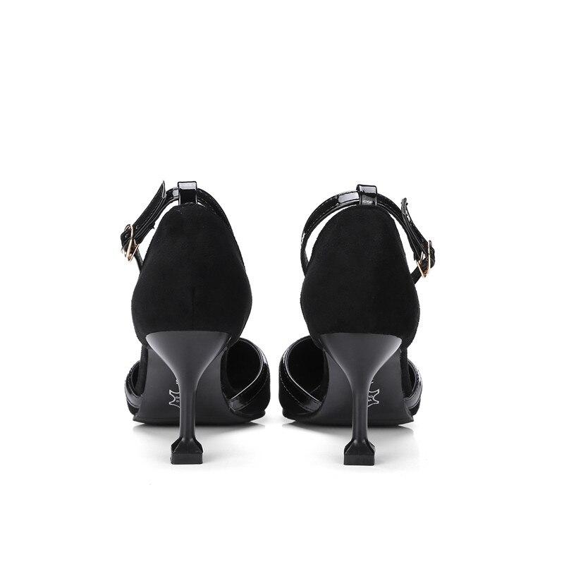 Estilo Bombas Las Elegantes Negro Altos La Adoración Mujeres Zapatos Hebilla De Nueva Correa brown Estrecha Moda Extraño Tamaño Tacones Naturaleza verde Punta Grandes xvxXAwanq