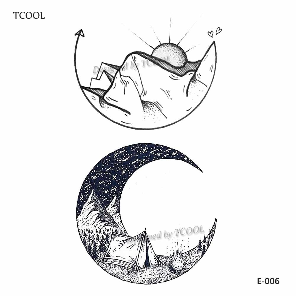 HXMAN Mountain Moon Temporary Tattoos For Waterproof Men Fake Body Art Women Original Design Fashion Hand Sticker 9.8X6cm E-006