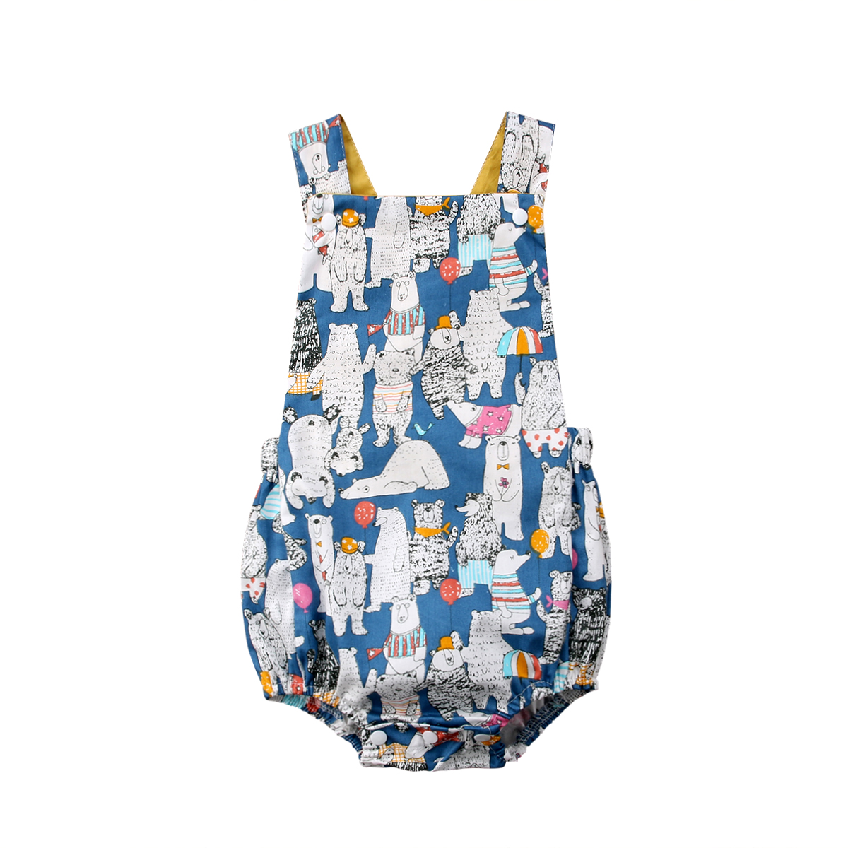 Cartoon Bear Print Newborn Infant Baby Boys Girls   Romper   Summer Sleeveless Baby Jumpsuit Overall Cotton Baby Girls clothes