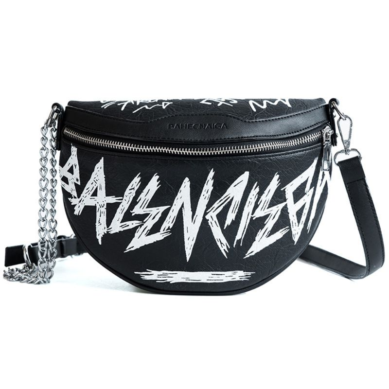 2019 New Women PU Leather With Letter Graffiti Waist Bag Phone Pouch Chain Fanny Pack Travel Belt Purse Shoulder Crossbody Bags
