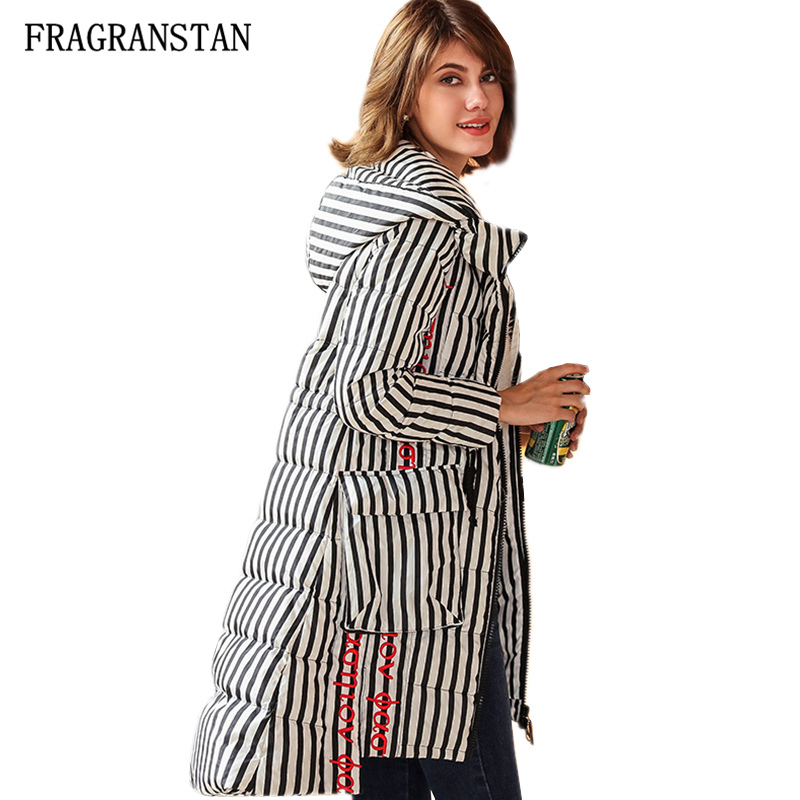 Winter Female Wram Sleeves Detachable Hooded Down Jacket Lady Casual Loose Thick Parkas Letter Embroidery Striped