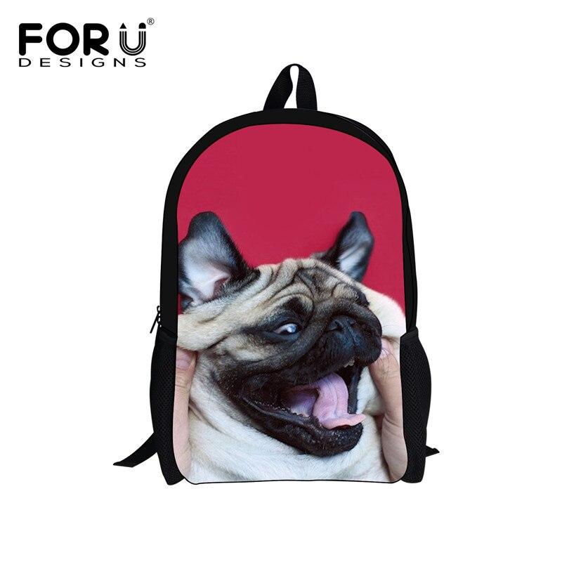 Forudesigns/модные 3D Мопс собаки Школьные ранцы с милой собачкой школы Сумки для Колледж Обувь для девочек Повседневное Bookbag Рюкзак Mochila 2018