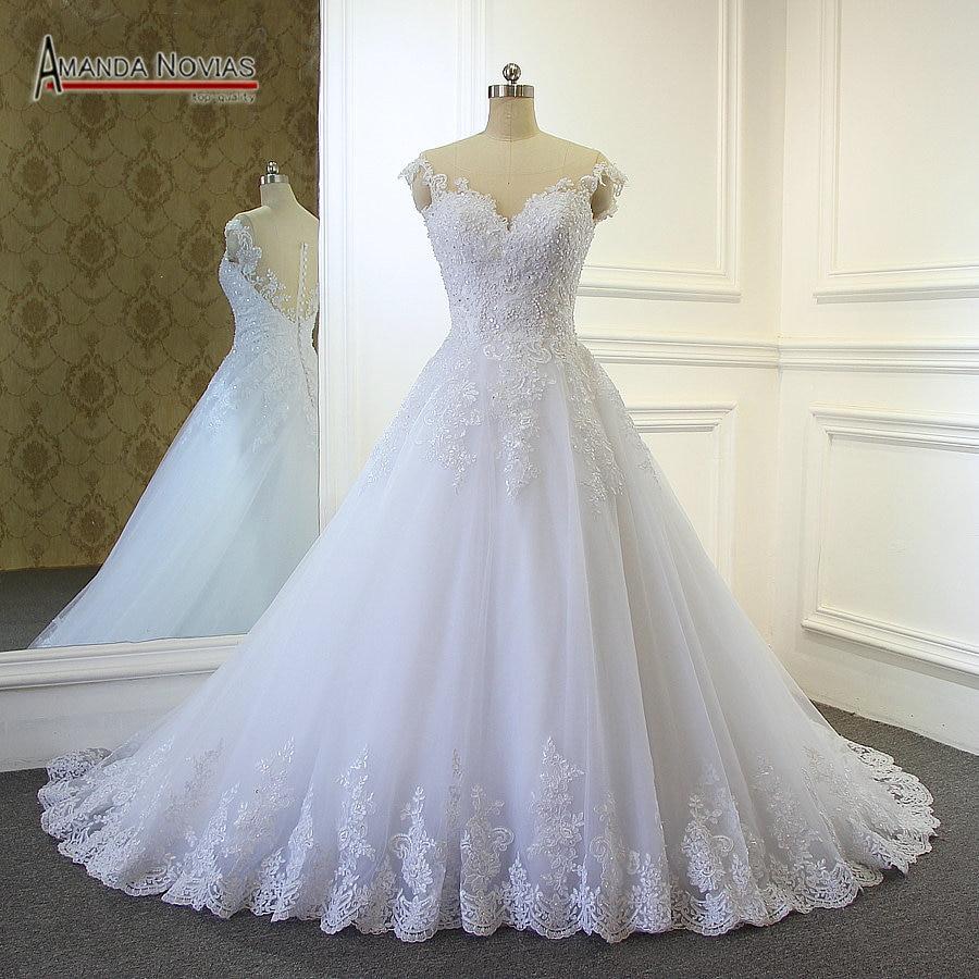 2019 Hot sale stunning sweetheart neckline lace A line wedding dress