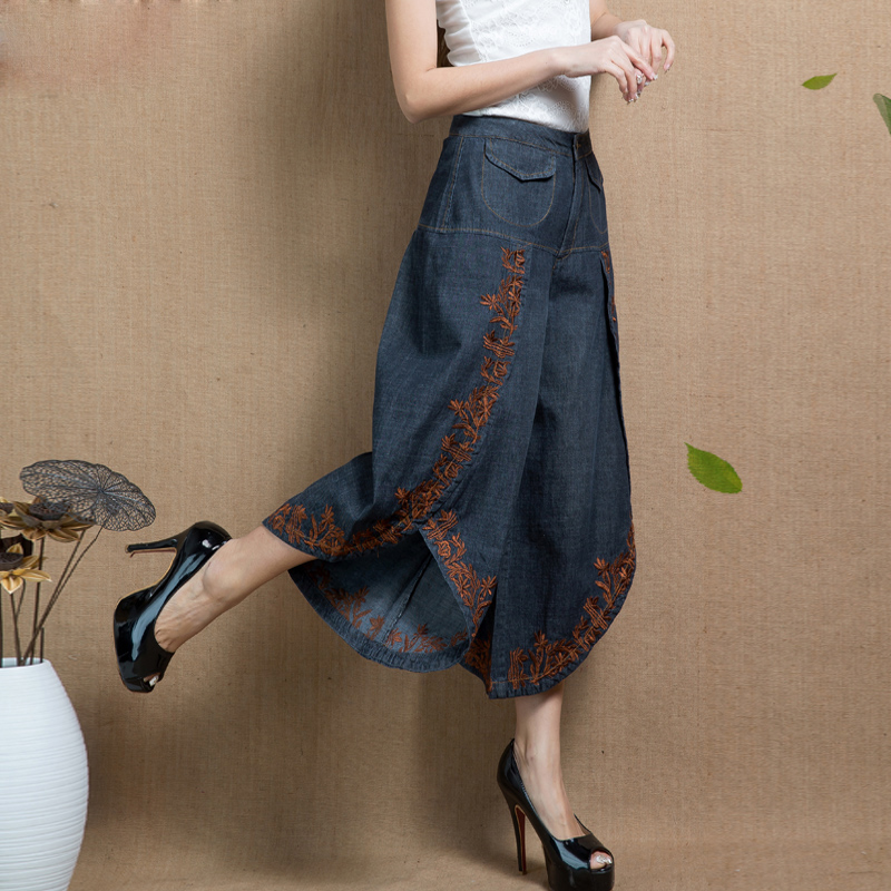 Calf-Length Women Denim Pants Loose Casual Spring Summer Embroidery Pantskirt All Match Female Jeans Plus Size Trousers MK0120 flower embroidery jeans female blue casual pants capris 2017 spring summer pockets straight jeans women bottom a46 page 9