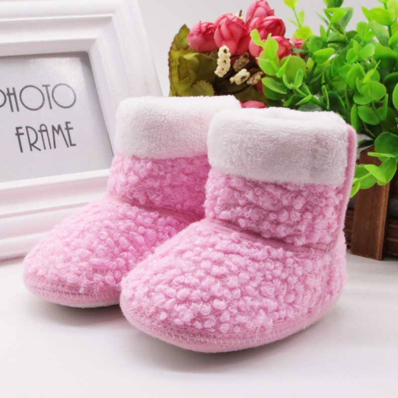 Winter Super Warm Newborn Baby First Walkers Fleece Soft Shoes Infant Toddler Soft Rubber Soled Anti-slip Boots Booties