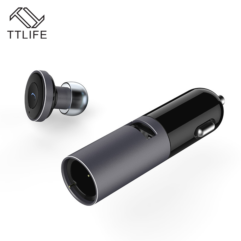 TTLIFE Wireless Bluetooth 4.1 Earphone One Drag Two Earbuds In-Ear Headsets Noise Cancelling with Mic Car Charger Fone de ouvido 2017 ttlife mini wireless earphone bluetooth headsets airpods with mic 2 in 1 with car charger for iphone 7 xiaomi mobile phones