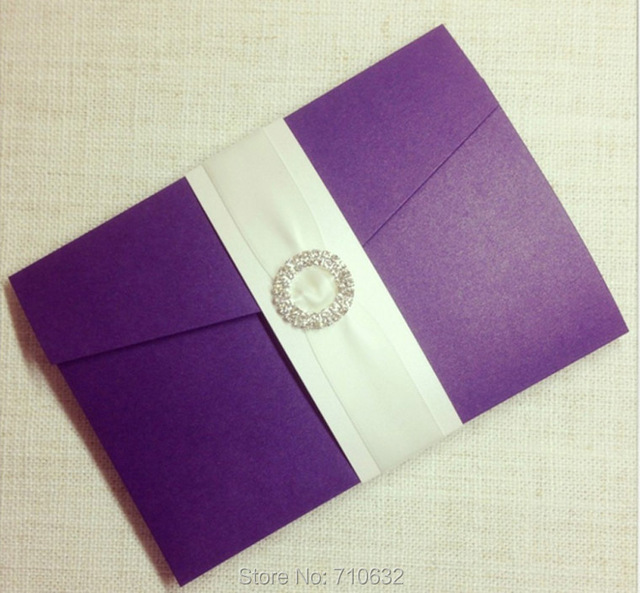 Purple Color Pocketfold Wedding Invitation With Rhinestone Culster 3 Inserts And Wording Printing
