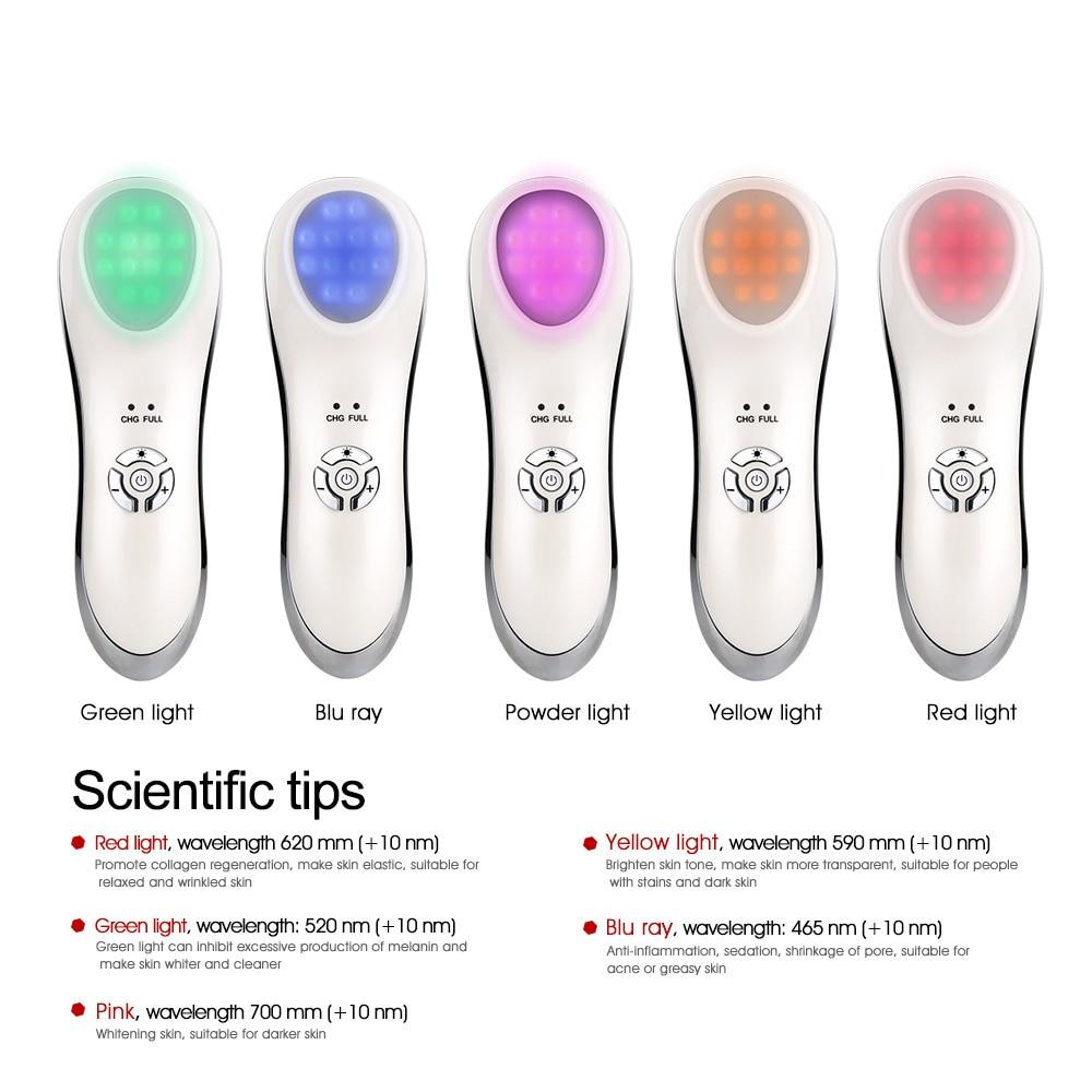 Image 2 - AOPHIA 5 Colors iontophoresis machine LED Photon Light Therapy RF Skin Rejuvenation Face Lifting Tighten Wrinkle Beauty MachineSonic Vibrating Device   -