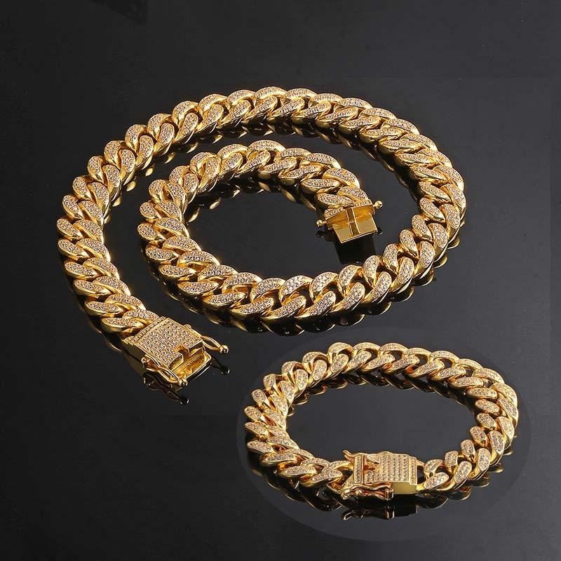 191741a744be6 Men Women Hip Hop MIAMI CUBAN LINK Chain Necklace Bracelet Copper Casting  Micro fully CZ ICED