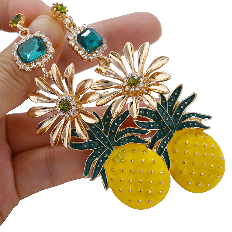 AENSOA Summer Candy Color Metal Pineapple <font><b>Flowers</b></font> Drop <font><b>Earrings</b></font> <font><b>For</b></font> <font><b>Women</b></font> Fashion <font><b>2019</b></font> Long <font><b>Statement</b></font> <font><b>Earrings</b></font> Party Jewelry image