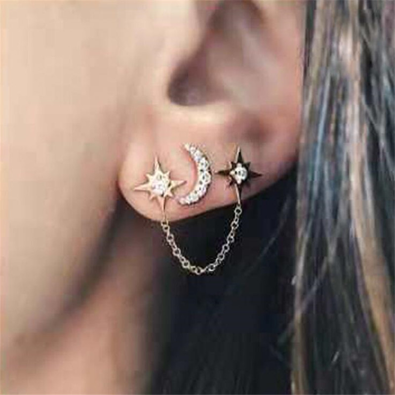Timlee E305  New Fashion Sweet Lovely Star Moon Chain Rhinestone Alloy Drop Earring Personality Originality Jewelry Wholesale