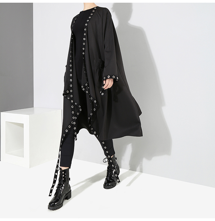 HTB1EZj2BNuTBuNkHFNRq6A9qpXaR 2019 Korean Style Women Very Long Solid Black Jacket Open Design Long Tape Stitched Metal Holes Female Stylish Loose Jacket 3843