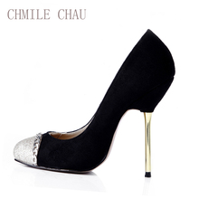 2016 New Arrivals Big size 35-43 Fashion High Heel Shoe Women Pumps Red Bottom Wedding Prom Shoe Suede Chain Party Pumps 3845-c1 fashion italy shoe and matching bag set for lady party and wedding me0020 red color size 38 42 for free shipping