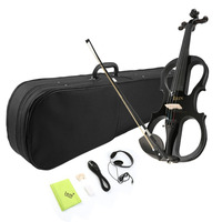 NEW Best for Beginners 4/4 Maple Electric Violin Fiddle Headphone Case UK Plug with Exquisite and Delicate Surface