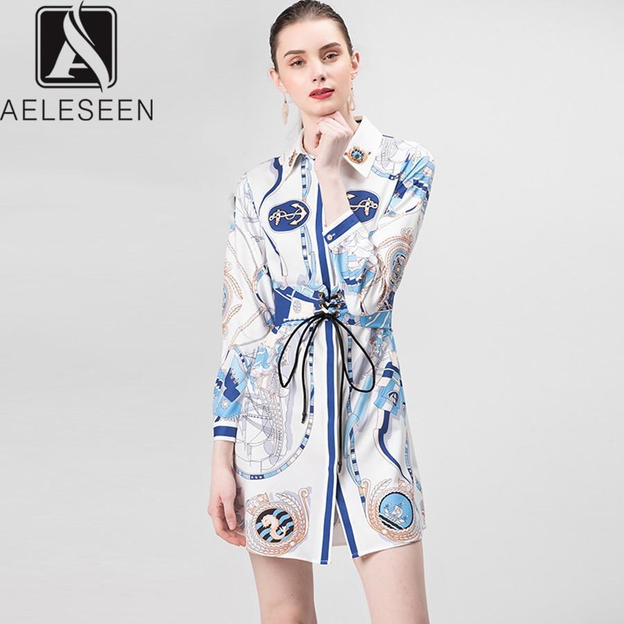 AELESEEN Vintage Dress Summer 2019 Full Sleeve Beaded Sashes Printed Dress Slim Elegant Casual Dress
