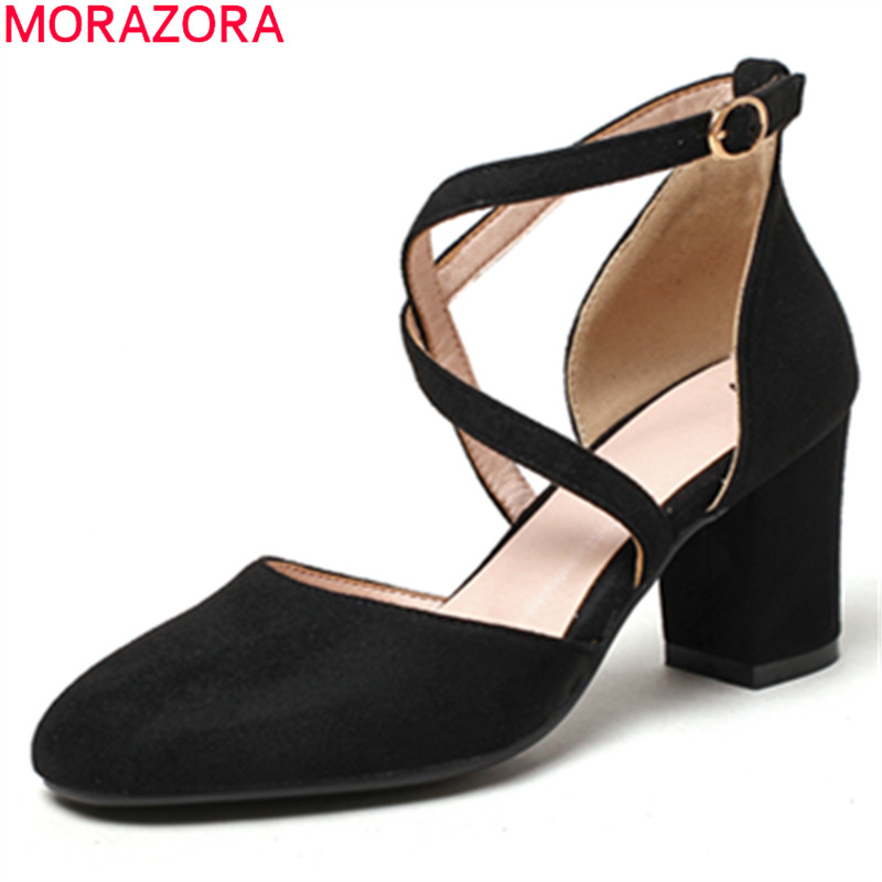 MORAZORA spring summer pumps women shoes high heels square heel flock with buckle round toe dress casual female shoes цена