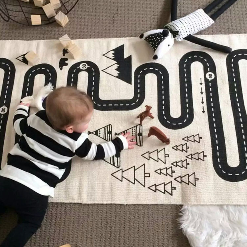 Kids Play Game Mat Toy Rectangle Carpet Rugs Mat Cotton Car Road Crawling Blanket Floor Carpet For Kid Room Decora INS Baby Gift
