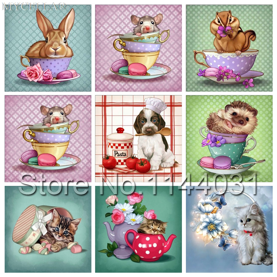 DIY Diamond Painting Cross Stitch The Cup Of Animals Dog Mouse Cat Needlework Full Rhinestone Mosaic Diamond Embroidery Teapot