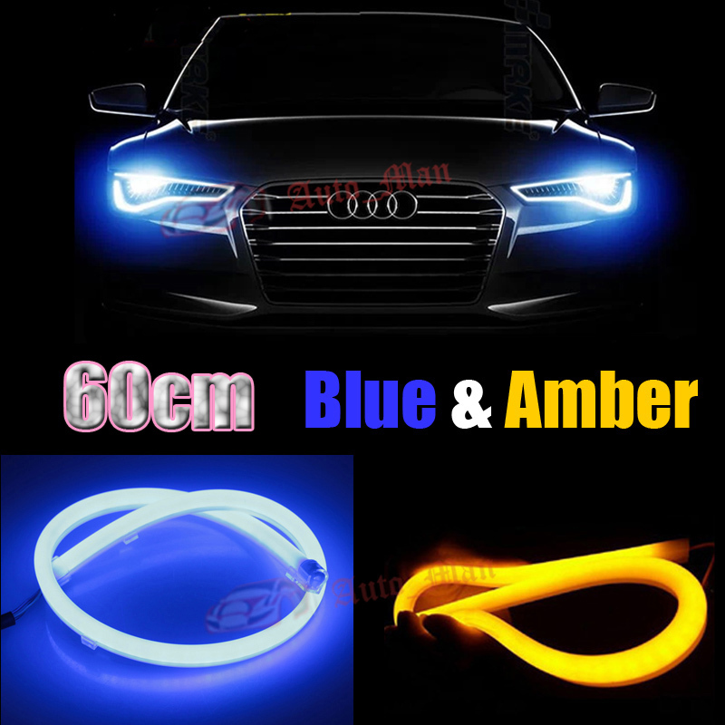 2pcs 60cm Blue Yellow Switchback DRL with Turn Signal Tube Style Flexible LED Strips Car Motorcycle Headlight Retrofit Universal 2 colors white yellow blue yellow led cob angel eyes 105 mm universal use as drl turn signal light hot car styling retrofit