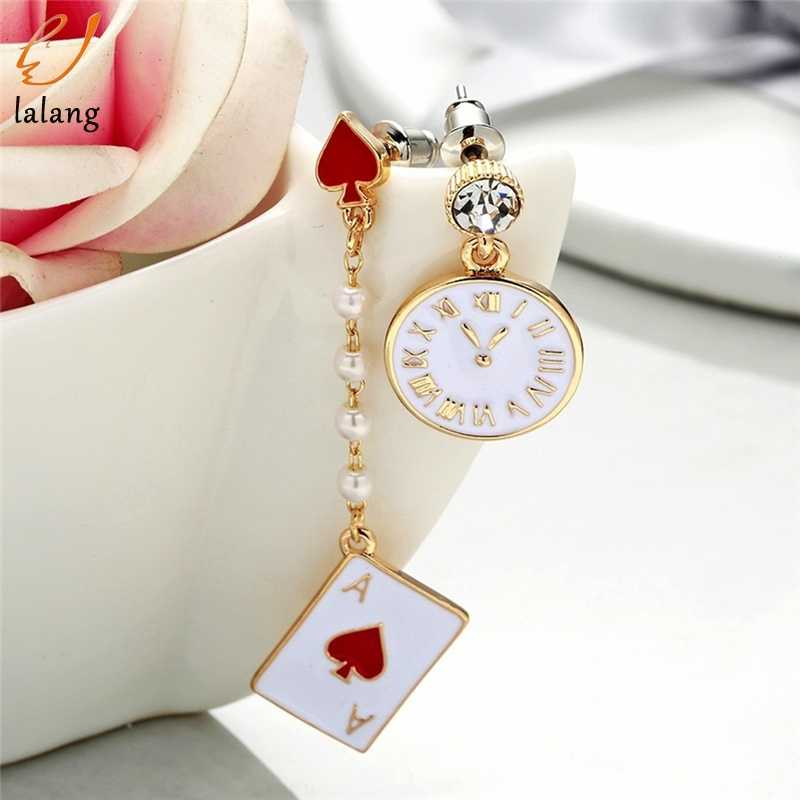 Gold Red Peach Alice Dream Clock Dangle Earrings Poker Card Asymmetrical Earring Long Created Pearl Fashion Jewelry