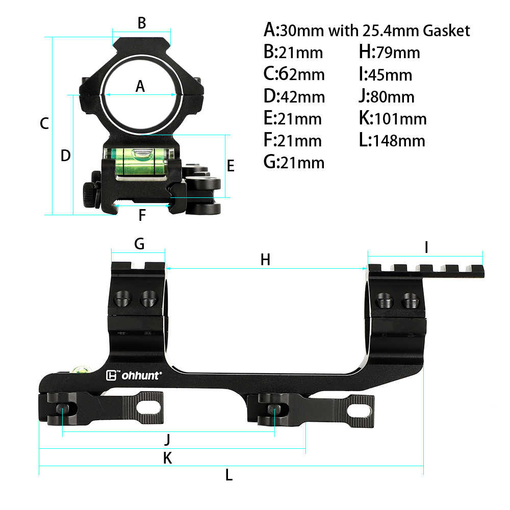 Ohhunt QD 1 дюйм 30 мм кольца Интегральная Охота круглое Крепление Пикатинни Rail Ar15 Ak 47 кронштейн для оптического прицела с пузырьковым уровнем для спускового механизма