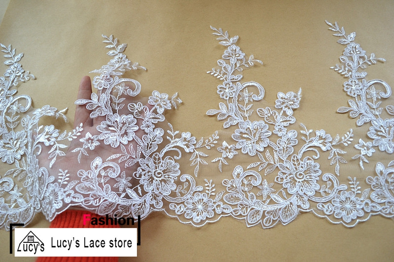 27CM 7 yards/lot Off white/Light ivory embroidery design wedding lace trimming wedding b ...