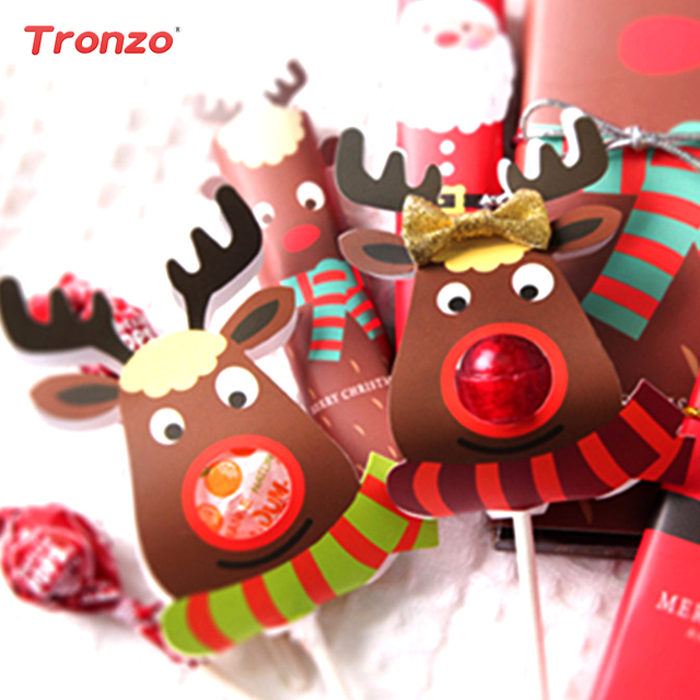 tronzo christmas elk lollipop cover xmas christmas decorations for home 25pcs paper reindeer candy christmas gift