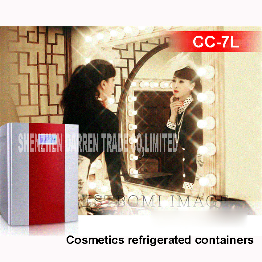 220V cosmetic refrigerator 7l refrigerator for cosmetics vertical refrigerator car cosmetics cooler reefer cooling box 36-68W