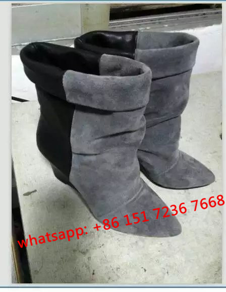 NEW Fall Wedge Shoes For Women Wedges Boot Spring Andrew Suede and Leather Ankle Boots Black Brown Gray Boots Women Leather