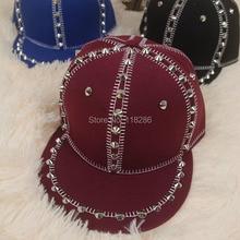 Fashion High Quality Women Men Unisex Adjustable Snapback Cap Hat Punk Hiphop Cap Flat Brim Baseball Spike Rivets Hat Cap