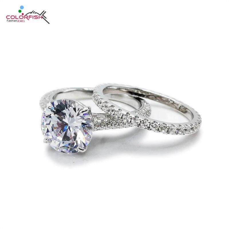 COLORFISH classique 3ct ronde bague de fiançailles pour les femmes 925 bijoux en argent Sterling promesse de mariage Sona ensemble de bague de mariée