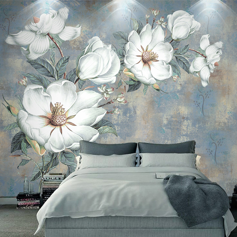 Custom Photo Wallpaper 3D Embossed White Flowers Oil Painting Wall Paper Bedroom Living Room European Style Mural Wall Coverings