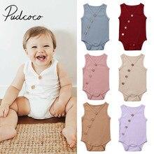 Г. Летняя одежда для малышей Одноцветный комбинезон для новорожденных мальчиков и девочек от 0 до 24 месяцев, хлопчатобумажное Боди без рукавов повседневный комбинезон в рубчик
