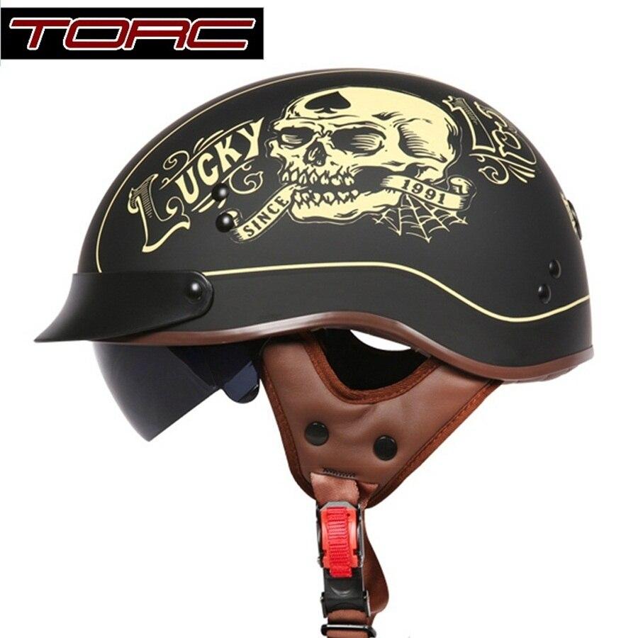 Бесплатная доставка 1pcs 1/2 наполовину открыть лицо Ретро мотоцикл Harley половина шлем Скутер падение вниз солнцезащитный козырек мотоцикл шлем