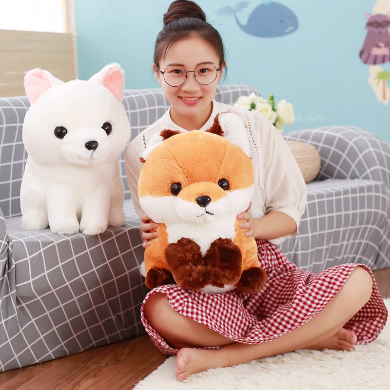 New Coming 1pc 40cm Cute Fat Stuffed Plush Long Tail Fox Toys Dolls Kawaii Plush White & Brown Toy Kids Friends Birthday Gifts