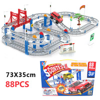 88pcs Rail Car Toy Multilayer Railcar Kids Toys Train Electric Train Track Toy Toys With Original