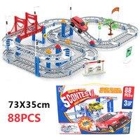 88 stks Rail auto Speelgoed Multilayer Motorwagen Kinderen Speelgoed Trein Elektrische Trein speelgoed Speelgoed Met Originele Pakket Beste Kerst Gift