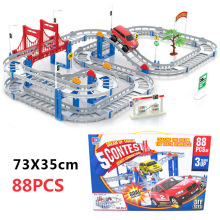 88pcs Rail car Toy Multilayer Railcar Kids Toys Train Electric Train Track toy Toys With Original Package Best Christmas Gift