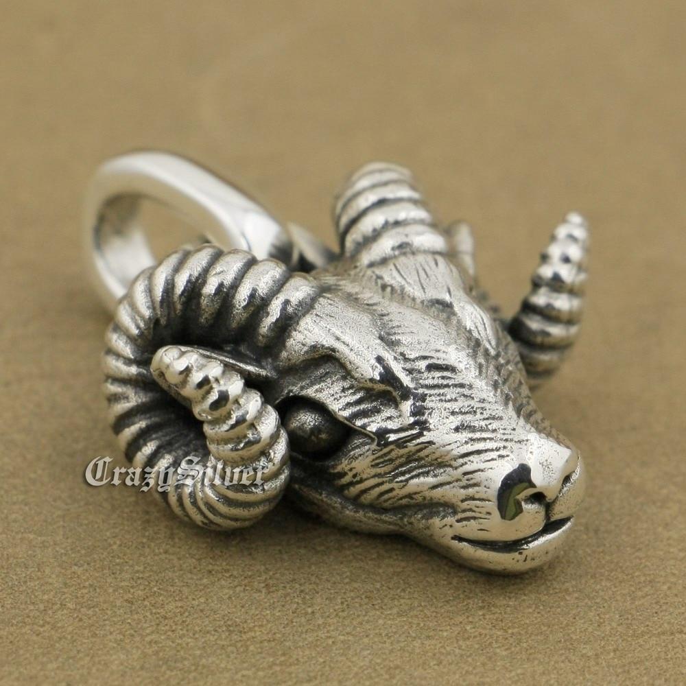 LINSION 925 Sterling Silver Argali Pendant Charms Small Animal Pendant TA38