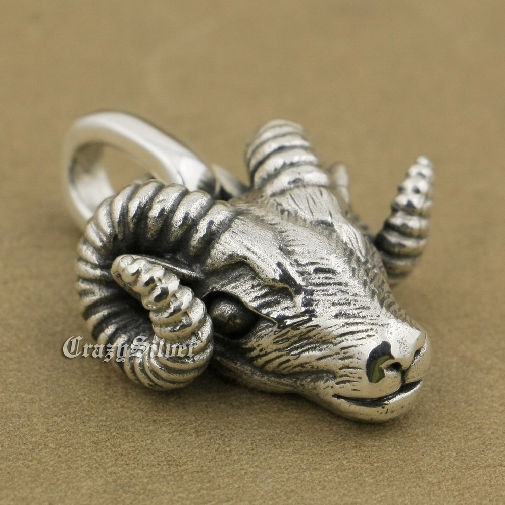 LINSION 925 Sterling Silver Argali Pendant Charms Small Animal Pendant TA38 linsion angel bird wing feather 2 side solid 925 sterling silver charms pendant 8a008