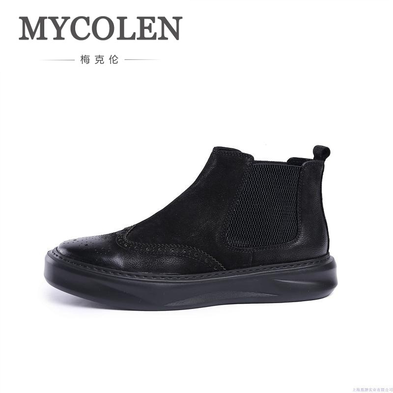 MYCOLEN Men Ankle Boots Fashion Spring/Autumn Footwear Genuine Leather Mens Boots Lace Up Casual New Brogue Shoes Men Botas xiaguocai spring autumn high top men shoes fashion canvas men s casual shoes lace up flat ankle boots for male