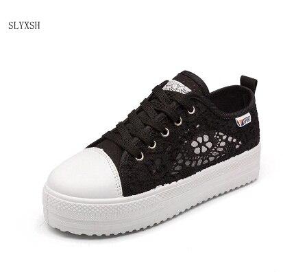 Automne Femmes Mode Nouvelle Respirant Plate blanc Toile Casual Creux Chaussures Dentelle Dames Noir Plat Découpes forme Femme Sneakers wrEr5tq